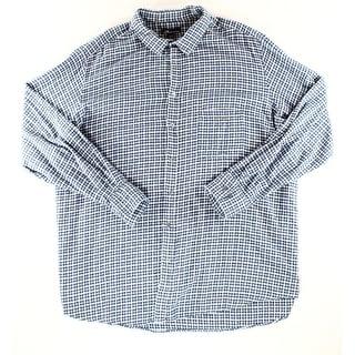 John Ashford NEW Blue Mens Size 3XLT Plaid Check Button Down Shirt
