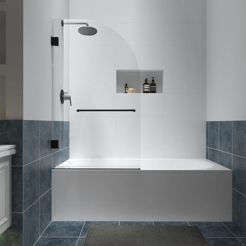 """FELYL 34"""" W x 58"""" H Hinged Frameless Tub Door with Heat Soaking Process and Protective Coating Clear Glass"""