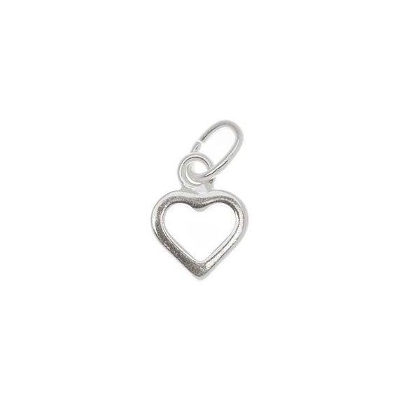 Sterling Silver Sleek Tiny Open Heart Charm 9mm (1). Opens flyout.