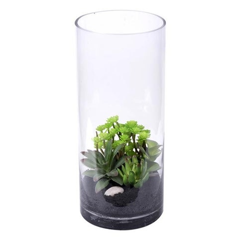 Vickerman Cylinder Everyday Floral with Succulent Plants - 14 in.