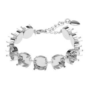 Gita Jewelry Almost Done Bracelet, 11 Cup Settings for 12mm Swarovski Crystal Rivolis, Rhodium Plated