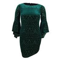Jessica Howard Women's Petite Burnout Velvet Sheath Dress - Green