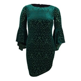Jessica Howard Women's Petite Burnout Velvet Sheath Dress - Green