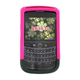 Rubberized Case Cover for BlackBerry Tour 9630 (Hot Pink / Black)
