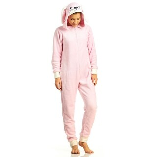 PJ Couture Women's Plush Fun Hooded Bunny Onesie Pajamas