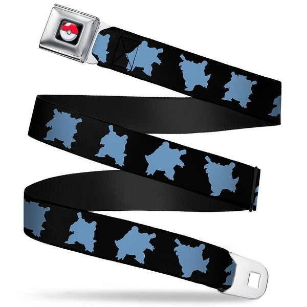 Pok Ball Full Color Black Blastoise 3 Silhouette Poses Black Blue Webbing Seatbelt Belt
