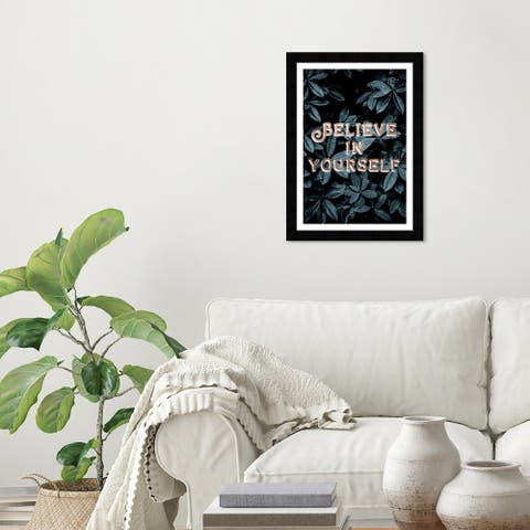 Wynwood Studio 'Believe in Yourself Plants' Typography and Quotes Green Wall Art Framed Print