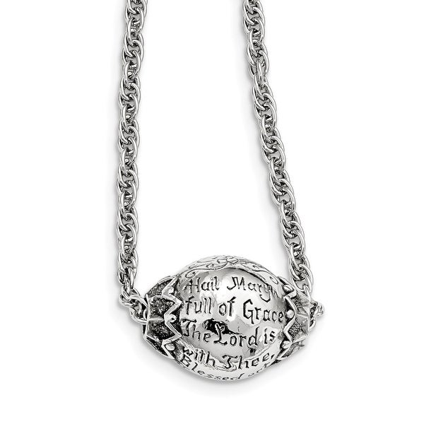 Silvertone Hail Mary Prayer Necklace - 18in