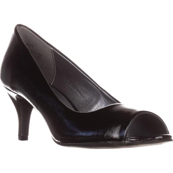 KS35 Mory Peep Toe Pump Heels, Black