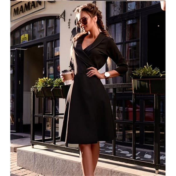 106a54c14fd59 Shop Elegant Wrap Style Tie Waist Trench Coat Party Slim Dress ...