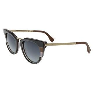 Fendi FF0063S 0MVB Black Gray Caramel Round Sunglasses