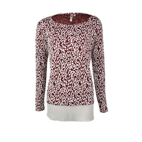 Kut from the Kloth Women's Jacquard Crepe-Hem Sweater - Maroon - S