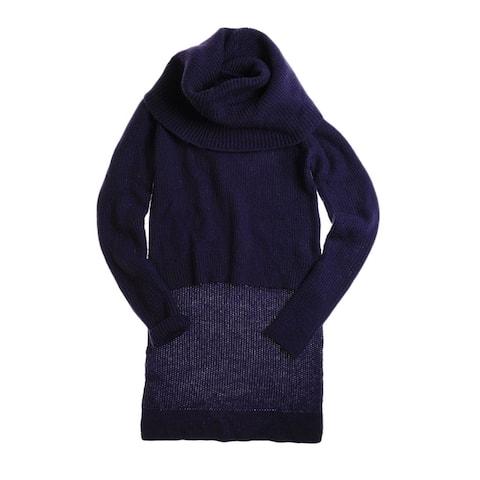 W118 Womens Turtleneck Cable Knit Sweater, Purple, Small