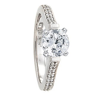 LORRAINE Beauty Cathedral Pavé Palladium Engagement Ring with Round Center Stone - MADE WITH SWAROVSKI® ELEMENTS