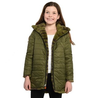 Save The Duck Lightweight Reversible Girls Jacket With Faux Fur In Military - 8