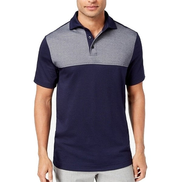 a51aa470b Shop Tasso Elba Navy Men's Large Colorblock Polo Shirt - On Sale - Free  Shipping On Orders Over $45 - Overstock - 27003055