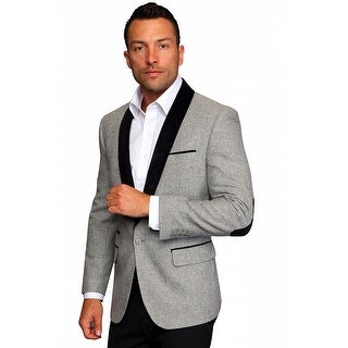 MZW-514 GREY Men's Manzini Fancy Solid beige wool sport coat with solid camel velvet trim on the elbow patch and collar.
