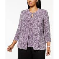 Alex Evenings Purple Womens Size 1X Plus Shimmer Twinset Sweater
