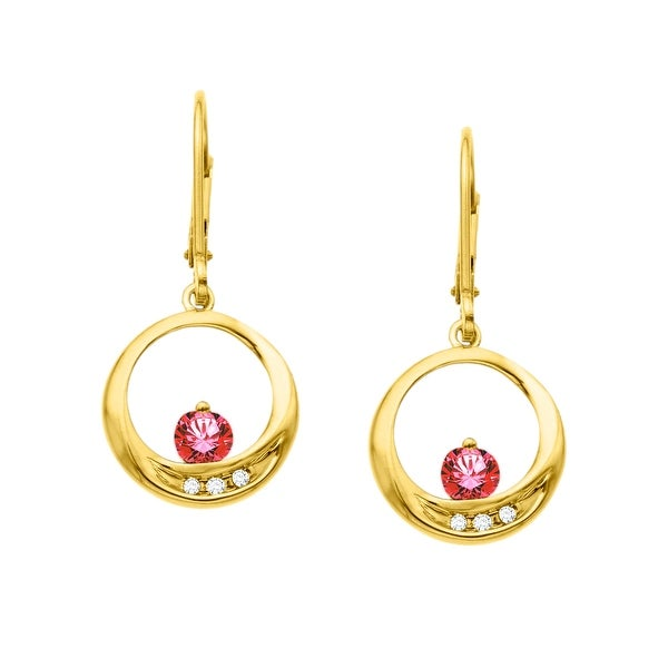3/8 ct Ruby Circle Earrings with Diamonds in 10K Gold - Red