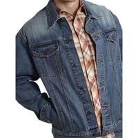 Roper Western Jacket Mens Denim Flag Sanded Blue
