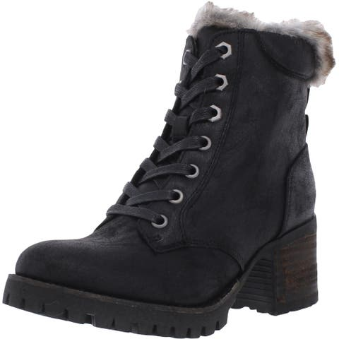 Steve Madden Womens Comfort Winter Boots Faux Leather Block Heel