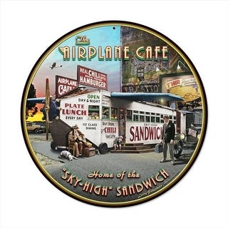 Past Time Signs LG005 Airplane Cafe Round Aviation Vintage Metal Sign