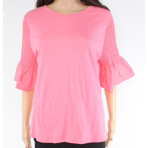 14th & Union Women's Blouse Top Large Smocked Ruffled Sleeve