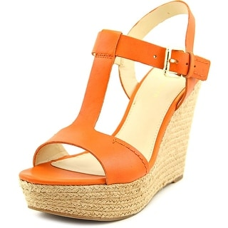 Marc Fisher Harlei Women Open Toe Leather Orange Wedge Sandal