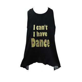 "Reflectionz Little Girls Black Gold ""I can't I have Dance"" Glitter Mesh Tank 4-6"