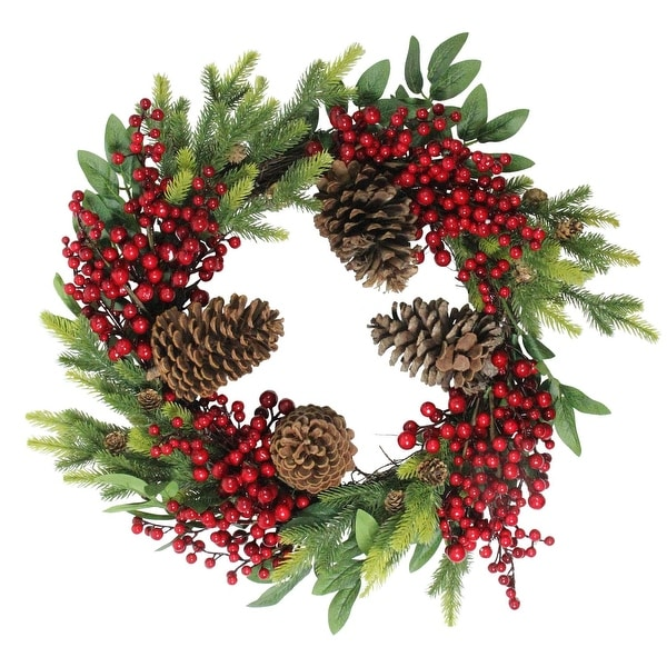 """22"""" Artificial Pine Cone, Red Berry and Pine Sprig Christmas Wreath - Unlit - green"""