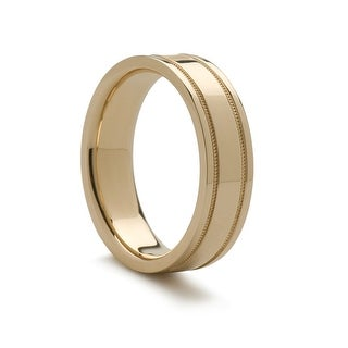 14k Yellow Gold Wedding Ring With Milgrain Edges 4mm