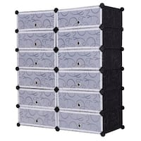 Costway 12 Cubic Portable Shoe Rack Shelf Cabinet Storage Closet Organizer Home Furni - Black