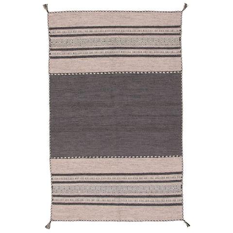 ECARPETGALLERY Arizona I Black, Grey Wool Kilim - 5'0 x 8'0