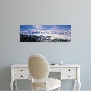 Easy Art Prints Panoramic Image 'Evergreen trees on snow landscape, Grand Teton National Park, Wyoming' Canvas Art