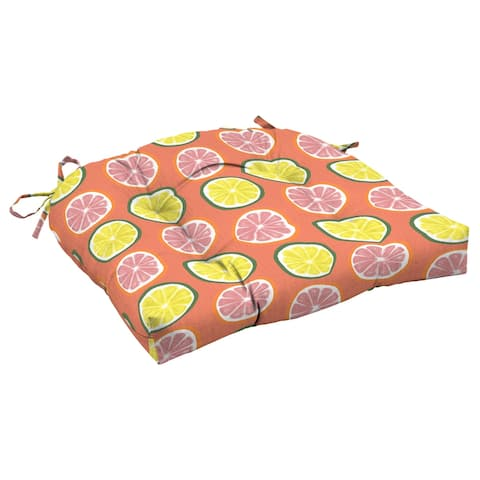 Arden Selections Watercolor Citrus Outdoor 18 x 20 in. Wicker Chair Cushion - 18 in L x 20 in W x 5 in H