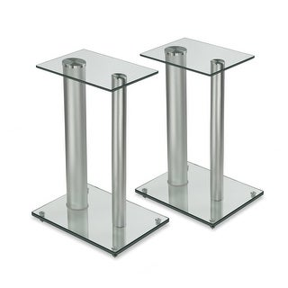 """Mount-It! Speaker Floor Stands for Surround Sound Home Theaters 18"""" High 22 Lbs Capacity Clear and Silver One Pair (MI-28S)"""