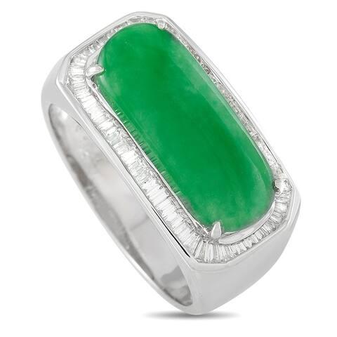 Platinum 0.65 ct Diamond and 3.25 ct Jade Ring Size 8.5