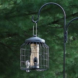 Sunnydaze 12-Inch Black 4-Peg Outdoor Garden Steel Wire Caged Wild Bird Feeder