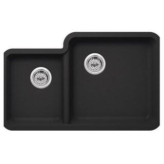 "Miseno MGR33214060 Carolina 33"" Double Basin Undermount Granite Composite Kitchen Sink with 60/40 Split - Basket Strainer"