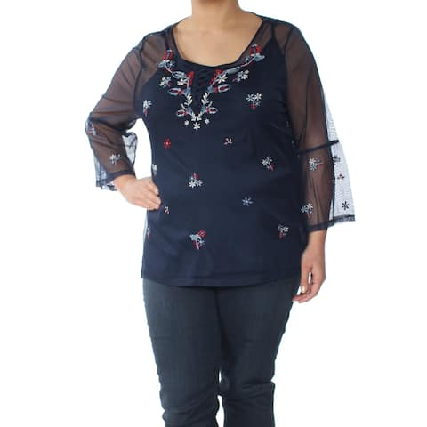 STYLE & CO Womens Navy Embroidered Sheer 3/4 Sleeve Scoop Neck Top Size: XL