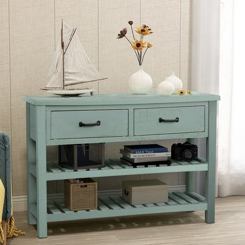 Console Table with Drawers and 2 Tiers Shelves