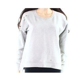 Oober Swank NEW Gray Womens Size Small S Distressed Zip Pullover Sweater