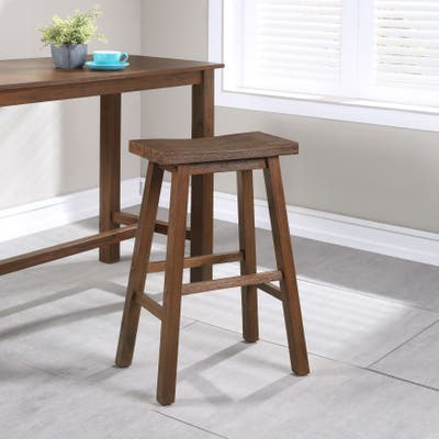 The Gray Barn Vermejo Wire-brushed Rubberwood Saddle Stool