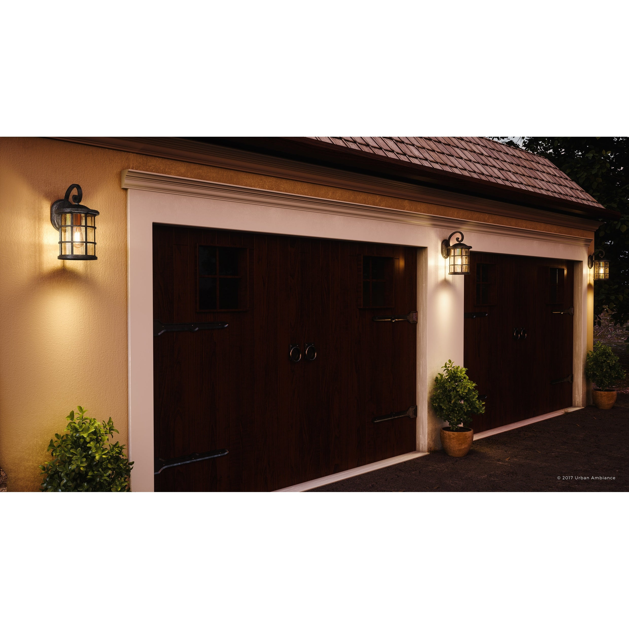 Luxury Craftsman Outdoor Wall Light 17 75 H X 10 W With Tudor Style Wrought Iron Design Natural Black Finish Overstock 19477914