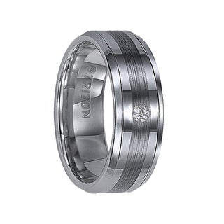 QUINLAN Beveled Tungsten Carbide Wedding Band with Center Satin Stripe and Single Diamond Setting by Triton Rings - 8 mm