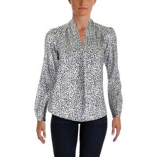 MICHAEL Michael Kors Womens Petites Blouse Metallic Leopard - p