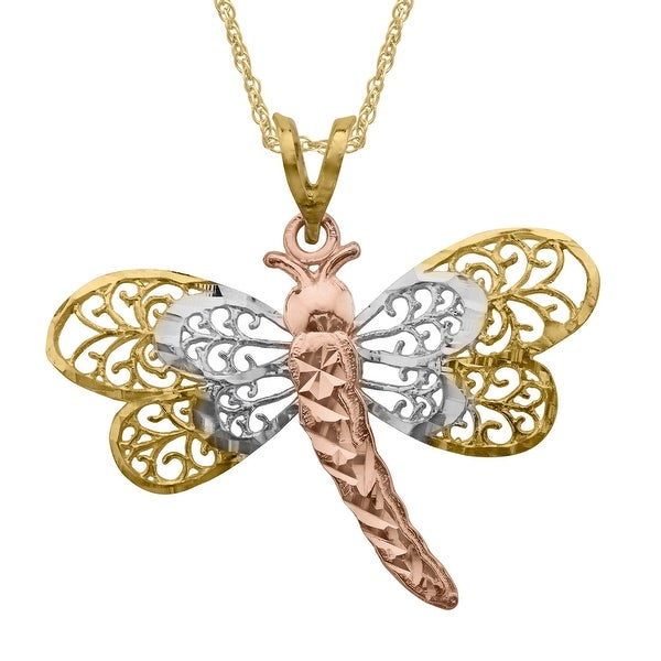 """Eternity Gold 10K Tri-Colored Gold Dragonfly Pendant Necklace, 18"""" - Tri-color"""