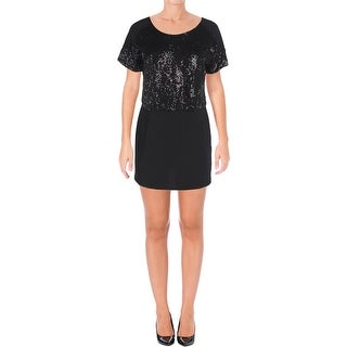 Signature By Robbie Bee Womens Petites Mini Dress Sequined Popover