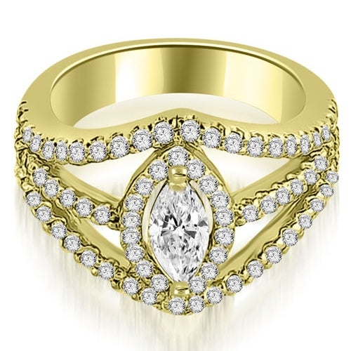 1.20 cttw. 14K Yellow Gold Halo Marquise Cut Diamond Engagement Diamond Ring