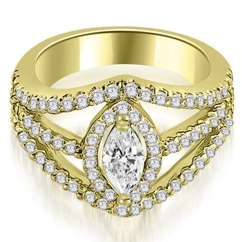 1.70 cttw. 14K Yellow Gold Halo Marquise Cut Diamond Engagement Diamond Ring